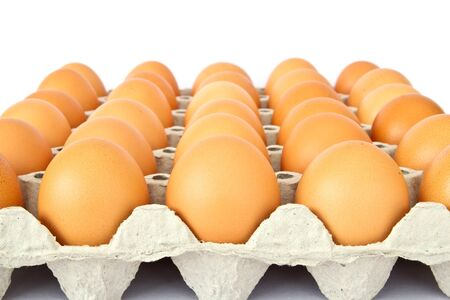 aliment: eggs in a package to isolate the background  Stock Photo