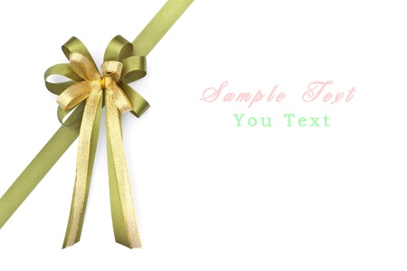 tilt views: beautiful green and gold bow on white background