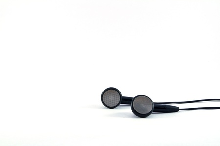 jackplug: Black headphones with wires on white background  Stock Photo