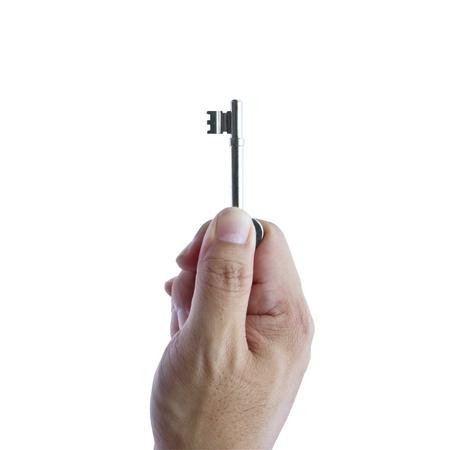 Hand holding keys isolated on a white background  photo