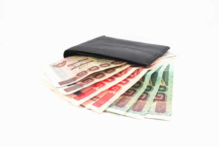 Money in wallet,isolated on white background photo