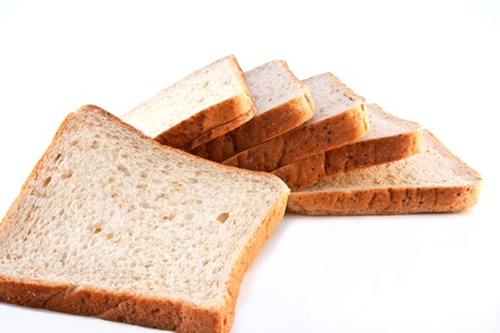 Whole wheat bread isolated on white