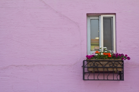 old building facade:  window on the pink wall with space  Stock Photo