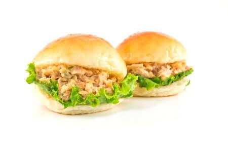 tuna mayo: Two fresh burger with tuna