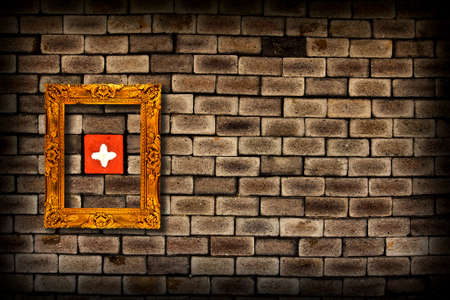 picture frame on grunge brick wall background  Stock Photo - 11221844
