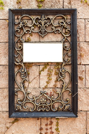 long lived: Wrought iron frame with space for image or text  Stock Photo