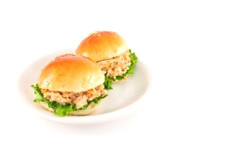 Fresh burger with tuna on plate