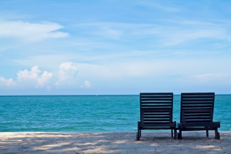 beach chairs on beach  Stok Fotoğraf