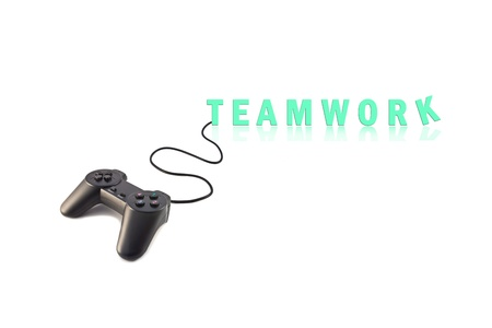 joystick and word teamwork, business concept, isolated on white background  photo