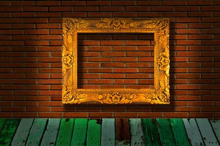 picture frames on brick wall Stock Photo - 12151111
