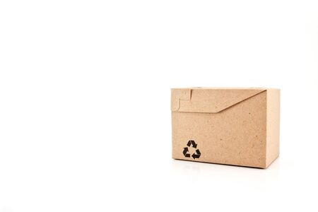 paper boxes with recycle symbol on white background Stock Photo - 12554640