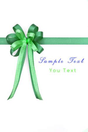 Beautiful green bow on white background  photo
