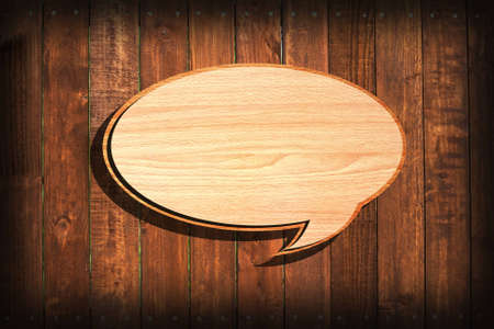 Retro speech bubbles from splat on wood wall background   Stock Photo - 12832172