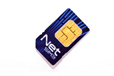 prepaid card:  mobile internetl phone sim card with reflection in background