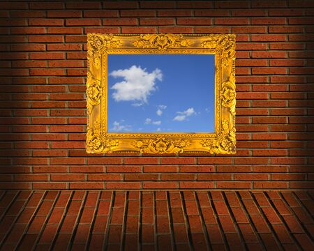 picture frames on brick wall  photo