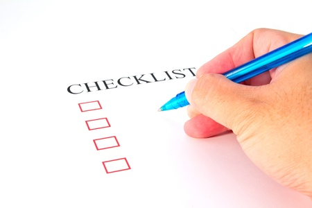 put tick: Checklist with pen and checked boxes   Stock Photo