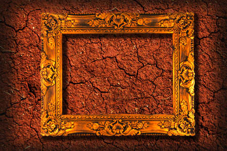picture frame on cracked clay ground  photo