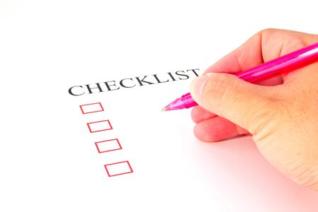 Checklist with pen and checked boxes   Stock Photo - 13220303