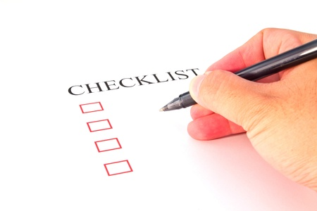 Checklist with pen and checked boxes   Stock Photo - 13220304
