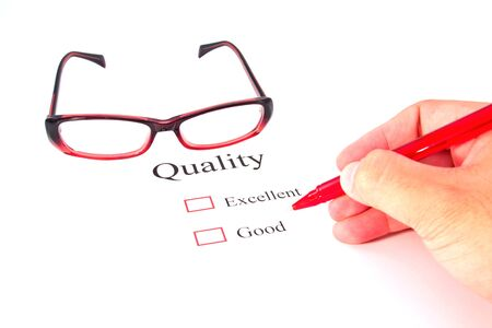 quality test closeup and glasses Stock Photo - 13220279