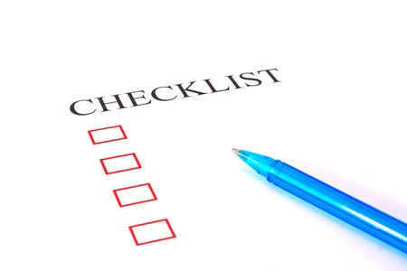 Checklist with pen and checked boxes Stock Photo - 13294321