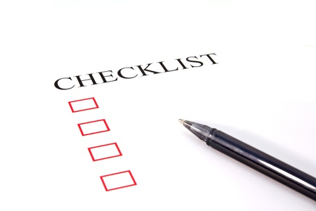 Checklist with pen and checked boxes Stock Photo - 13294323
