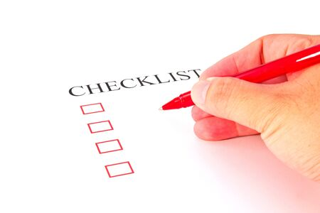 Checklist with pen and checked boxes   Stock Photo - 17084774