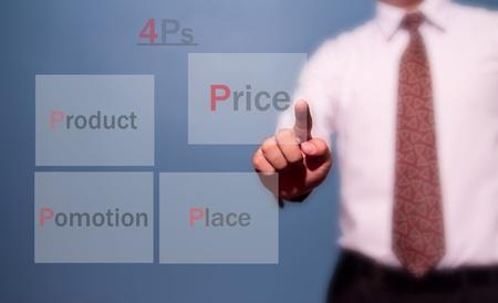 business man choose marketing mix Stock Photo