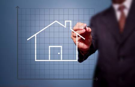 business man drawing house Stock Photo - 14014780