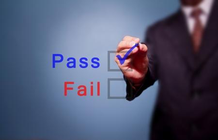 business man hand choose Pass box