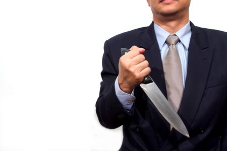 maniacal: Man with knife. Isolated on white.