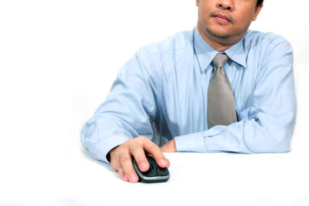 laborious: businessman using a mouse