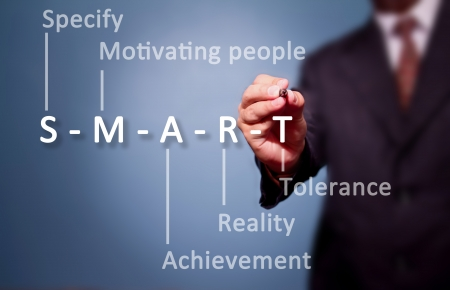 business man writing S-M-A-R-T. Stock Photo - 16957062