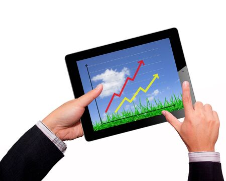 Business hands Hold  on a tablet Stock Photo - 17940192
