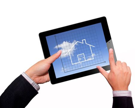 Business hands Hold  on a tablet Stock Photo - 17940190