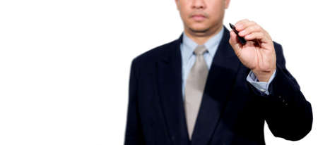 Hand of business man write or writing on tablet pc touch screen  photo