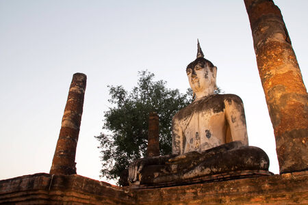 Buddha big in city old Sukothai temple , Thailand ,