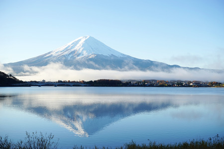 Mountain Fuji view from the lake,The symbol of Japan.