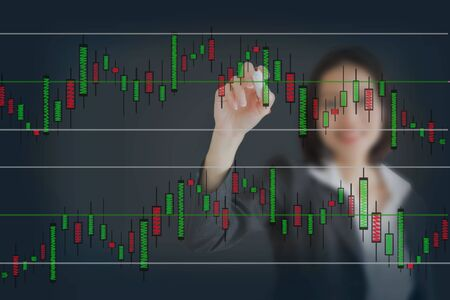 funding of science: Young beautiful businesswoman drawing a graph