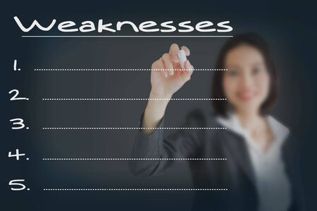 collate: Beautiful businesswoman writing list of business weakness comparison