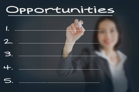 correlate: Beautiful businesswoman writing list of business weakness opportunities Stock Photo