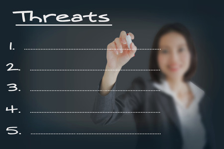 collate: Beautiful businesswoman writing list of business weakness threats