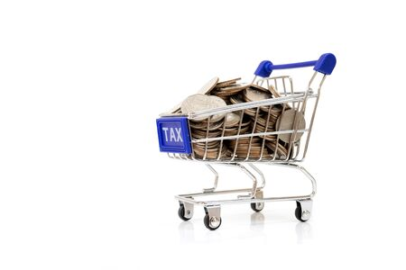 emergency cart: Tax concept with shopping cart with full of coin. Stock Photo