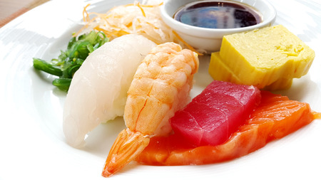 soysauce: Japanese sushi on a plate