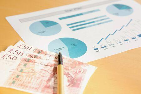 libra esterlina: Plan del año con calculadora y dinero