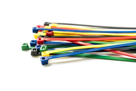Cable ties isolated on white background.Colorful cable tie isolated Stock Photo