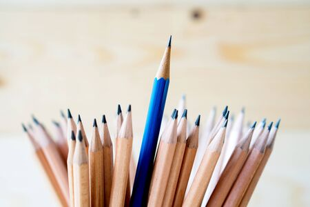 Pencils isolated on Wood - Material  backgroun Stock Photo