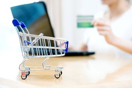 Woman shopping at the desk with miniature trolley Stock Photo