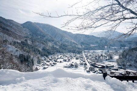 snowfall Japan in Shirakawago with blue white balance Stock Photo