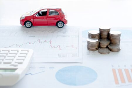 Concept stethoscope car graph and coin